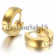 Men's Womens Unisex Stainless Steel Plain Cambered Hoop Huggie Earrings One Pair