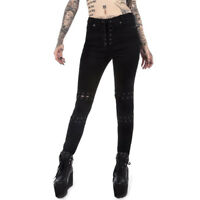 Red Tartan Banned Punk Punkabilly Stretch Hose Jeans