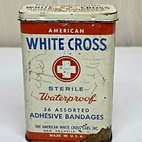 Vintage American White Cross Sterile Waterproof 36 Adhesive Bandages Tin Empty