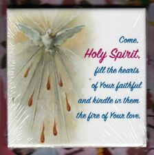 """Holy Spirit with Prayer wall or Shelf art ceramic 4"""" x 4"""" tile from Italy"""