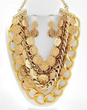 Coin charm gold earring necklace set women fashion costume chunky bib jewelry