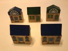 MAXIM Wooden Trains~Green & Blue Alpine Village~10 Pcs~Thomas, BRIO Compatible