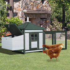 Chicken Coop Hen Cage Wooden House Large Patio with  Nestbox Run