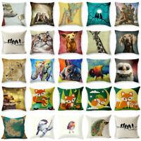 Cotton Linen Cute Animal Friends Throw Pillowcase Sofa Cushion Cover Home Decor