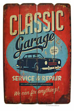 """Large 24"""" Wood Distressed Retro Classic Auto Garage Car Wall Art Sign Plaque"""