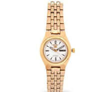 Seiko 5 Classic Ladies Size White Dial Gold Plated Stainless Steel Strap Watch