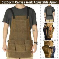 Heavy Duty Adjustable Canvas Woodworking Shop Apron Tool Pockets Women Men