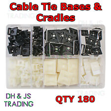 Assorted Box of Cable Tie Bases Ties Black, White Adhesive Screw Qty 180 Base
