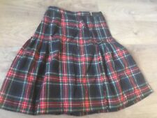 Unbranded KILT SKIRT pure new wool tartan adjustable waist pleated UK 16 (a2)