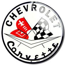 CHEVROLET CORVETTE ROUND CIRCLE METAL SIGN AUTO GARAGE MAN CAVE GAME ROOM DEN