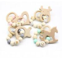Animal Wooden Silicone Beads Baby Teething Bracelet Toy Stroller Rattle BPA Free