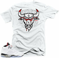 Shirt to match Air Jordan Cement Retro 5 Cement  sneakers. Bull 5 White  tee
