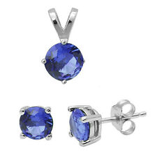 4 Prong Round Tanzanite .925 Sterling Silver Earring & Pendant Jewelry set