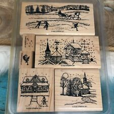 Stampin Up! Winter Wonderland Wood Rubber Stamps Christmas Snow Village Skaters