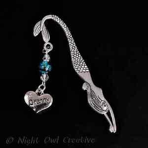 Mermaid Bookmark,Handmade,Crystal Beaded,Silvertone Granny Charm,Grandma Gift