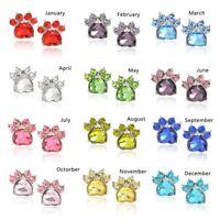 12 Paar Various Colors Ear Studs Earrings Dog Paw Metal Zirconia