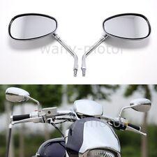 10mm Chrome Oval Side Mirrors For Motorcycle Street Bike Cruiser Chopper Custom