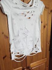 River Island Grunge Boho Festival Urban Slash Hole T Shirt Top Size 6 / 8 / 10