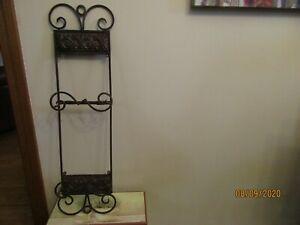 "Bronze Metal Hanging Wall Art Display Shelf 26.5""Tall Embossed Design Never Used"