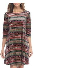 Robbie Bee women dress size M trapeze NWT Multicolor three quarter sleeve lined
