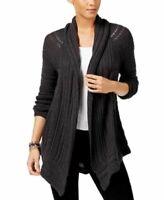 NEW Style & Co Asymmetrical Pointelle Open Front Cardigan Black Heather Sz S $69