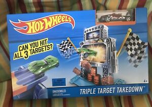 HOT WHEELS Triple Target Takedown Track Play Set Red Race Car Toy NEW!