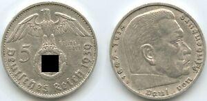 G11120 - Germany Third Reich 5 Reichsmark 1939 B Vienna KM#94 Silver Swastika