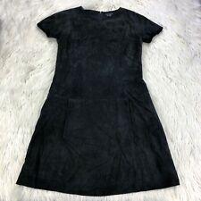 9b10bc078b Theory Women's 6 Black Lamb Suede Short Sleeve Drop Waist Shift Dress Zipper