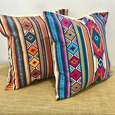 "Mexican Fabric Blue Or Orange Cushion Covers. Made Australia. 14""/18"""