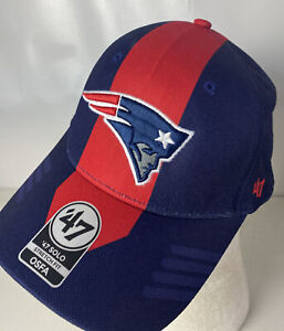 New England Patriots NEW '47 Brand Solo Patch Sewn Spellout Logo Stretch OSFA