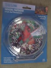 """Taylor Indoor/Outdoor Thermometer 6"""" diameter with Cardinal background #5632 NEW"""