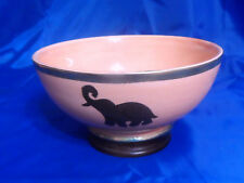 "8"" Moroccan Handmade Ceramic Glazed African ELEPHANT Design Bowl w/ Metal Bands"