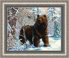 Bead Embroidery kit GOLDEN HANDS J-019 - Bear and Titmouse