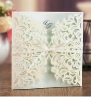 10x Elegant Wedding Invitation Card w/ Envelop - White & Light Green Laser Cut