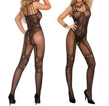 Women Sexy Fishnet Sheer Open Crotch Body Stocking Bodysuit Lingerie Nightwear-W