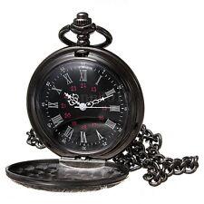 Vintage Steampunk Black Roman Numerals Necklace Quartz Pendant Pocket Watch E8