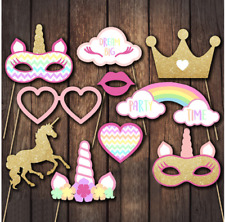 Lot 10pc Unicorn Take Photo Booth Prop Birthday Party Supplies Carton Photobooth