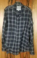 Joe's Jeans the Shirt Size M Medium Relax Fit Long Sleeve Studded Flannel Shirt