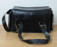 Vintage Black Genuine Leather Large Camera Bag