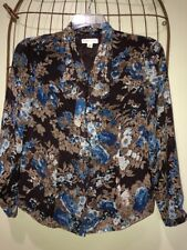 Coldwater Creek Brown Blue Ruffle Pleated Floral Top Blouse Women's PM 8-10