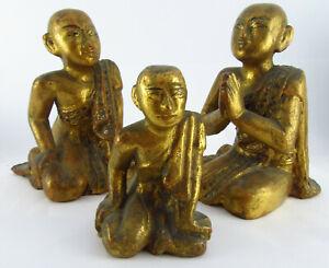 Set Of Three 19th C Burmese Gilt Wood Carved Priest Figures, Mandalay 1897