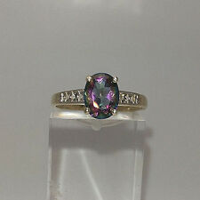Pretty 9ct Gold Mystic Topaz and Diamond Dress Ring.  Goldmine Jewellers.