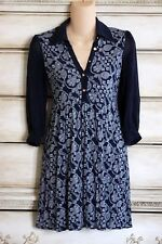 NWOT Juicy Couture Short Navy Blue Rayon Print Dress with Sheer Long Sleeves P/S