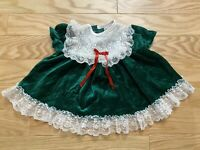 VTG Sweet Treats Girl's Toddler Green Velour White Lace Dress Size 6-9 MOS