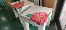 Hand Made Farmhouse Hibiscus/White Rustic Solid Wood End Tables Artist Signed