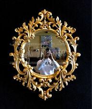 Specchiera intagliata foglia oro antica vetro molato barocco ovale da parete S05