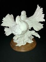"Kissing Doves Figurine G. Armani White on Wood Base Italy Love Birds 10""x9""x7"""