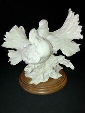"Kissing Doves Figurine G. Armani White on Wood Base Italy Love Birds 10""x9""x7"""