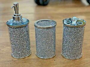 NEW SET OF 3 CRUSHED DIAMOND CRYSTAL FILLED JARS SILVER WHITE BATHROOM BLING UK