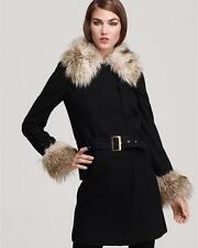 Juicy Couture Black Solid Drop Waist Belted Faux Fur Coat Large NWT $448